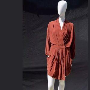 EVER American Rag whitmore silk wrap dress pleated